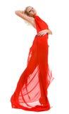 Attraktive Frau im roten Gewebe Stockfoto