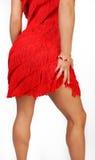 Attraktive Frau im roten Kleid von hinten Lizenzfreie Stockfotos