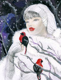 Attraktive Frau im Winterwald Stockfotos