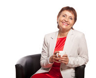 Attraktive Frau 50 Jahre lokalisiert auf weißem Hintergrund Stockfoto