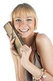 Attraktive Frau mit Fonds Lizenzfreie Stockbilder