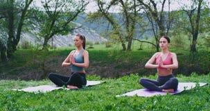 Attraktive Frauen an der Natur, die konzentriert wird, Yoga tuend auf, wirft Meditation beim Nehmen von etwas Frischluft in überr
