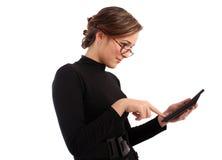 Attraktive Geschäftsfrau berechnet Lizenzfreies Stockbild