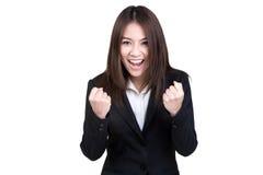 Attraktive Geschäftsfrau Erfolgsklage lokalisiert Lizenzfreies Stockfoto
