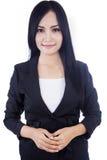 Attraktive Geschäftsfrau getrennt im Weiß Stockfoto