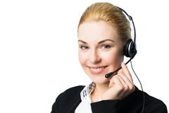 Attraktive Geschäftsfrau mit Kopfhörer stockbilder