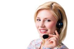 Attraktive Geschäftsfrau mit Kopfhörer lizenzfreies stockfoto