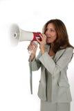 Attraktive Geschäftsfrau mit Megaphon 1 stockfoto