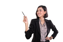 Attraktive Geschäftsfraudarstellungsgesten, auf Whit Stockbild