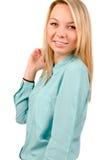 Attraktive glückliche junge blonde Frau Lizenzfreies Stockbild