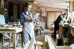 Attraktive Handwerkerin Using Digital Tablet stockfotografie