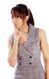 Attraktive indische Frau lokalisiert auf weißem Hintergrund Stockfoto