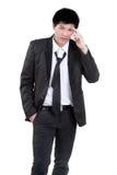 Attraktive intelligente Klage des Geschäftsmannes Lizenzfreie Stockfotos