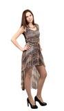Attraktive junge Frau in Brown-Kleid Stockfotos