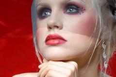 Attraktive junge Frau in der Moulin Rougeart Stockbilder