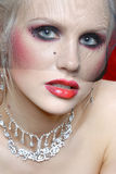 Attraktive junge Frau in der Moulin Rougeart Lizenzfreie Stockfotos