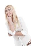 Attraktive junge Frau, die oben schaut Stockfoto