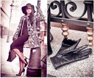 Attraktive junge Frau in einem Wintermodeschuß Schönes modernes junges Mädchen im schwarzen festen Kleid, das gegen eine Säule au Lizenzfreie Stockfotos