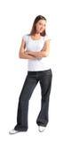 Attraktive junge Frau getrennte Vollkarosserie stockbild