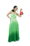 Attraktive junge Frau im grünen Kleid Lizenzfreies Stockfoto