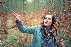 Attraktive junge Frau im Wald lizenzfreie stockbilder