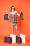 Attraktive junge Frau ist über das Einkaufen verrückt Stockfotografie