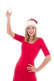 Attraktive junge Frau mit dem Glas Champagner lokalisiert auf Weiß Stockfoto