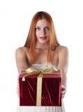 Attraktive junge Frau mit Geschenkkästen Lizenzfreies Stockfoto