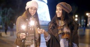 Attraktive junge Frauen, die Spaß am Weihnachten haben Stockfotos