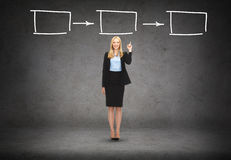 Attraktive junge Geschäftsfrau mit ihrem Finger oben Lizenzfreie Stockfotos