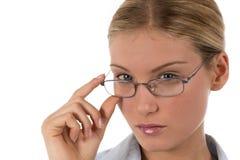 Attraktive junge Geschäftsfrau oder Kursteilnehmer stockbilder