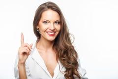 Attraktive junge gesunde Frau hat großartige Idee lizenzfreie stockbilder