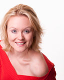 Attraktive junge kaukasische blonde Frau Stockbild