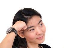 Attraktive junge schöne Frauenbenommenheit Lizenzfreies Stockfoto