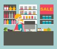 Attraktive Kassiererfrauenfunktion lizenzfreie abbildung
