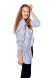 Attraktive kaukasische blonde lächelnde Frau Lizenzfreie Stockbilder