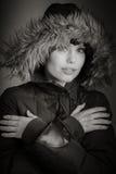 Attraktive kaukasische Frau in ihren 30 lokalisiert auf a Lizenzfreie Stockfotografie