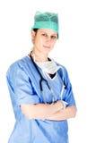 Attraktive kaukasische weibliche Gesundheitspflegearbeitskraft Lizenzfreie Stockbilder