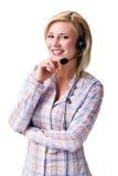 Attraktive lächelnde Blondine mit Kopfhörer lizenzfreies stockfoto