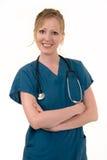 Attraktive lächelnde Krankenschwester Stockfoto
