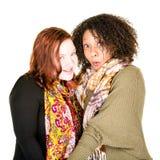 Attraktive lesbische Paare in den Schals Stockfotos