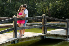 Attraktive Paare in der Landschaft Stockbild