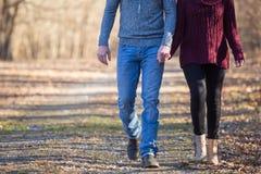 Attraktive Paare, die Hände durchlöchernd gehen stockbilder