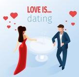 Attraktive Paare, die Restaurant-Illustration datieren stock abbildung