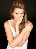 Attraktive schöne junge Frau verwirrt Lizenzfreies Stockbild