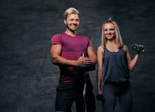 Attraktive sportliche Paare über grauem Hintergrund Lizenzfreies Stockfoto