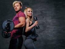 Attraktive sportliche Paare über grauem Hintergrund Stockfotografie