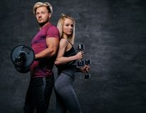 Attraktive sportliche Paare über grauem Hintergrund Lizenzfreies Stockbild
