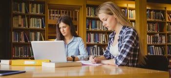 Attraktive Studenten, die in der Bibliothek arbeiten lizenzfreie stockfotos