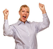 Attraktive zujubelnde blonde Frau getrennt auf Weiß Stockbild